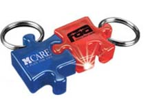 Lighted Key Chains, Puzzle Piece Shaped, Ring Light
