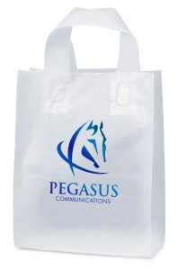 8 x 10 x 4 Frosted Plastic Shopping Bags, Foil Stamped