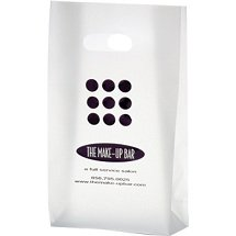 8 x 15 Frosted Die Cut Plastic Shopping Bags