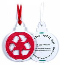 Seed Infused Ornament Gift Tags with Recycled Symbol Design