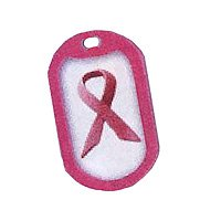 Breast Cancer Awareness Dog Tags w/ Pink Rubber Silencer