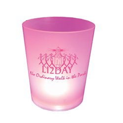 Breast Cancer Awareness, Pink Lighted Cups, Frosted 12 oz.