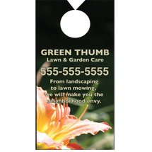 "3.5"" x 6.75"" Full Color Plastic Door Hangers - Wedge Hole"