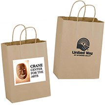 10 x 13 Recycled Natural Kraft Paper Shopping Bags