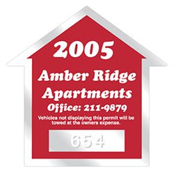 "2.75"" x 2.75"" House Clear Parking Permit Decals"