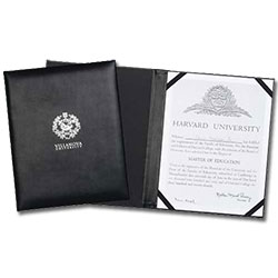 "9"" x 11-3/8"" Black Leather Certificate Holders"