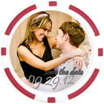 Save The Date 8 Stripe Poker Chip Magnets - Full Color Insert