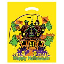 12 x 15 Haunted House Yellow Halloween Treat Bags
