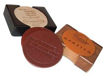 Leather Coaster Sets, Wood Base