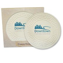 "4.25"" Round Greek Key Absorbent Stone Coasters in Retail Gift Box"
