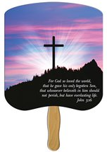 Church Hand Fans - John 3:16 Cross Design