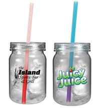 24 oz. Clear Plastic Mason Jars with Mood Straws