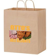 14.5 x 16.25 x 9.5 Full Color Brown Kraft Carry Out Bags