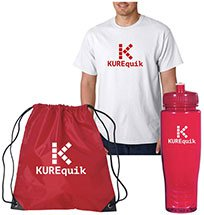 Adult T-shirt, Sports Bottle and Drawstring Backpack Kits
