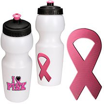 24 oz. Water Bottle with Pink Awareness Ribbon