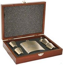 Stainless Flask Set in Rosewood Finish Box