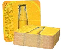 "4"" Square Medium Weight Full Color Scratch and Sniff. Pulpboard Coasters - High Quantity"