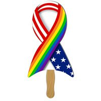 Full Color Econo Pride Ribbon Hand Fans
