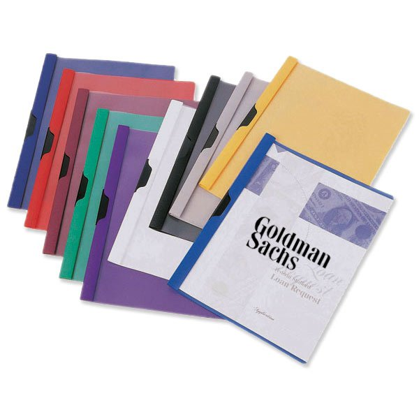 "Plastic Report Covers Metallic Side Clip 8-3/4"" x 11-1/2"""