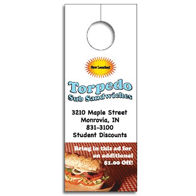 "3-1/8"" x 8-1/8"" Paper Door Hangers - Full Color Process"