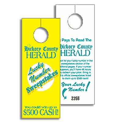 "3-1/8"" x 8-1/8"" Paper Door Hangers - Top Slit"
