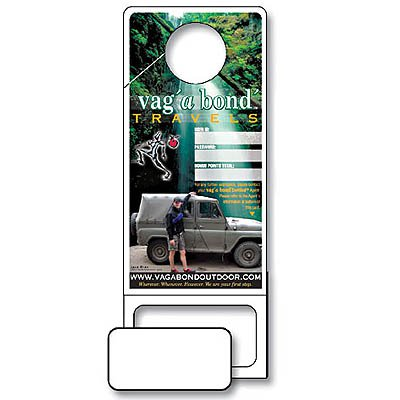 "3.5"" x 9"" Laminated Paper Door Hangers w/ Punch-Out Magnet Side Slit"