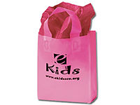 8 x 11 Frosted Pink Plastic Shopping Bags